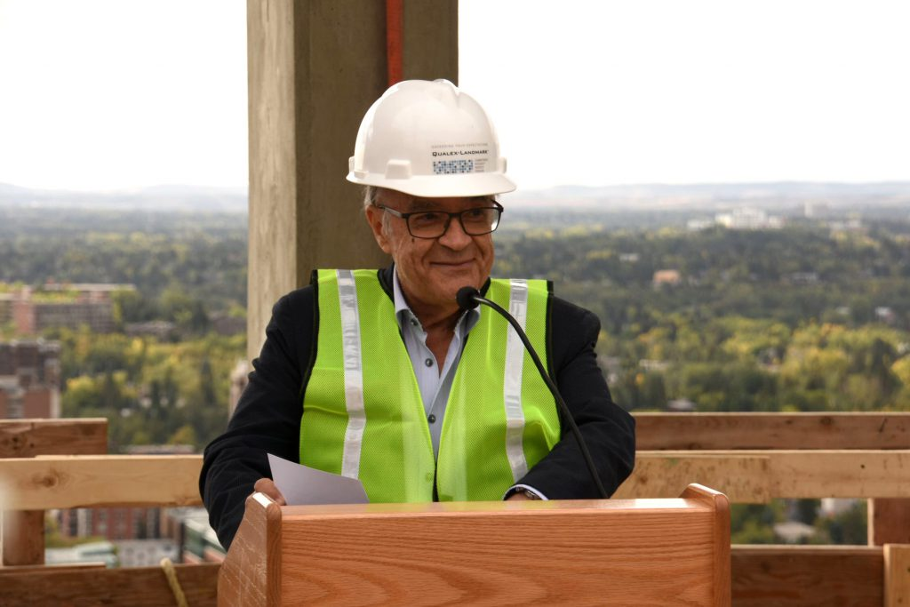 Mohammed Esfahani, president of Qualex-Landmark, speaks about the project, image by Kevin Cappis